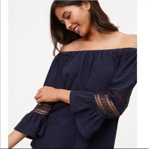 Loft Off the Shoulder Crochet Bell Sleeve Top